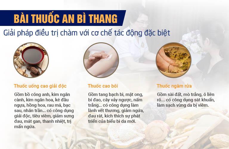 Thành phần và công dụng của 3 chế phẩm trong bài thuốc An Bì Thang