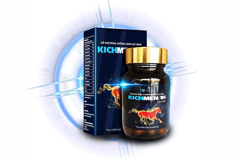 Kichmen 1h là sản phẩm dành cho nam giới với công dụng chống xuất tinh sớm, tăng sự cương cứng của dương vật