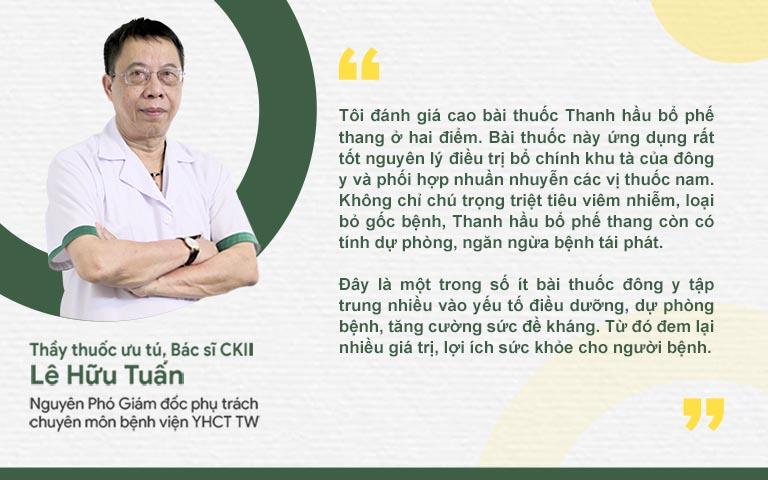TTUT Lê Hữu Tuấn đánh giá cao bài thuốc Thanh hầu bổ phế thang