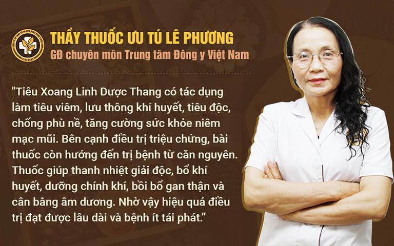 Bác sĩ Lê Phương đánh giá về Tiêu xoang linh dược thang