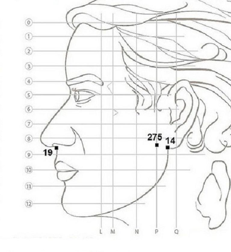 Cách xác định huyệt 14 và 275 trên khuôn mặt