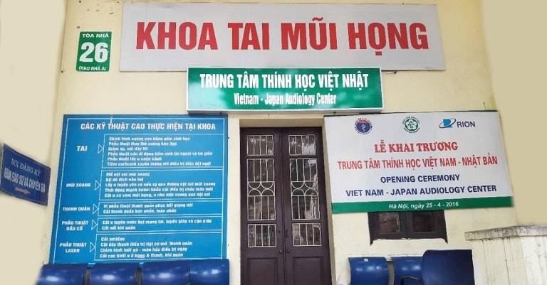 Khoa Tai Mũi Họng nằm tại Tòa nhà 26, nhà A, Bệnh viện Bạch Mai