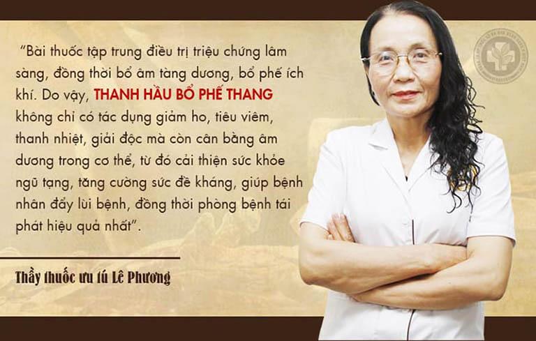 Bác sĩ Lê Phương đánh giá Thanh hầu bổ phế thang