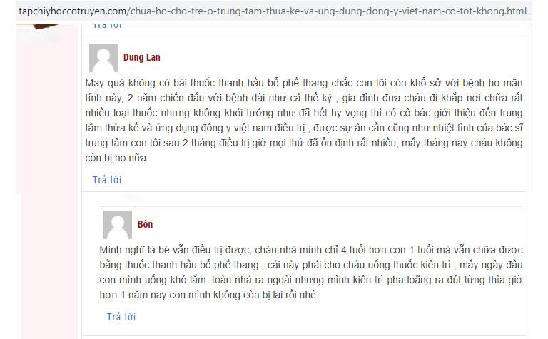 Những phản hồi của người bệnh về bài thuốc chữa ho Thanh Hầu Bổ Phế Thang trên tapchidongy