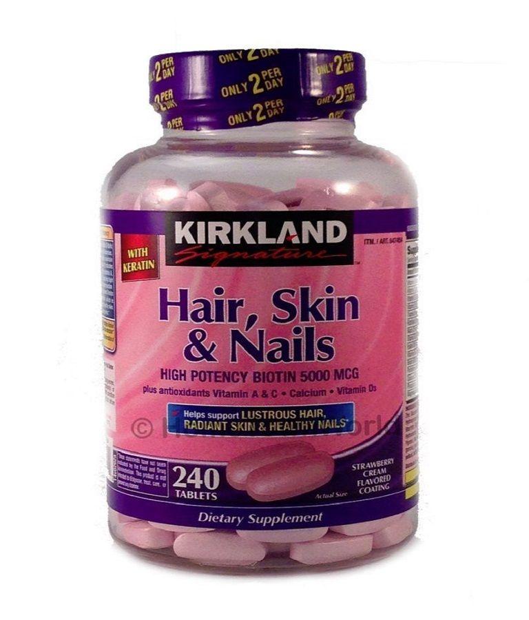 Thực phẩm chức năng của Mỹ Hair Skin Nail Kirkland giúp ngăn cản gốc tự do gây hại cho tóc