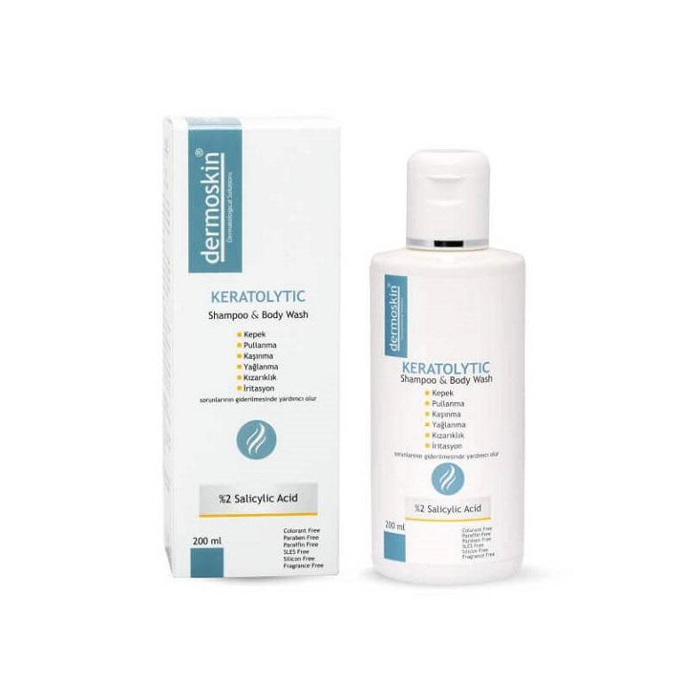 Dermoskin Keratolytic Shampoo Dandruff %2 Salicylic Acid- Dầu gội chứa axit Salicylic tiêu biểu