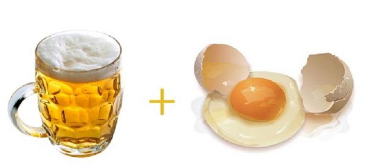 Kết hợp bia và trứng gà ủ tóc giúp loại bỏ gàu, dưỡng tóc mềm mượt