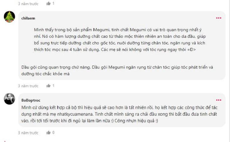 Dầu gội Megumi nhận được nhiều đánh giá tích cực từ phía người dùng