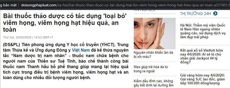 Một trong số những bài viết trên báo Đời Sống Pháp Luật về Trung tâm Đông y Việt Nam chị Trà đã tìm đọc