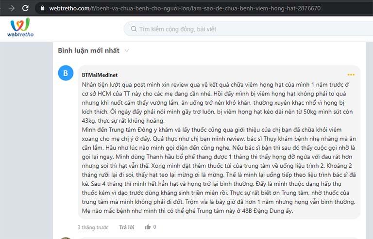 Phản hồi của bệnh nhân về bài thuốc của Trung tâm Đông y Việt Nam chị Trà tìm thấy trên diễn đàn Webtretho