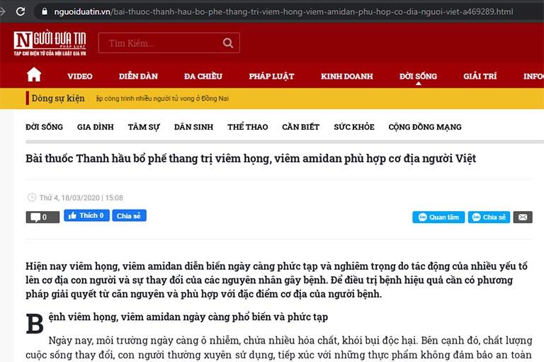 Bài viết về bài thuốc trị viêm họng, viêm amidan của Trung tâm Đông y VN trên báo Người Đưa Tin
