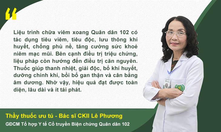 Bác sĩ Lê Phương nói về giải pháp trị viêm xoang tại Quân dân 102