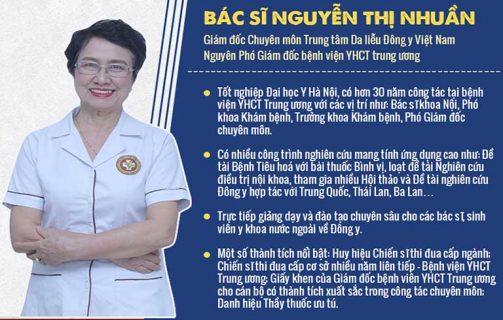 Bác sĩ Nguyễn Thị Nhuần là một trong những chuyên gia hàng đầu YHCT điều trị các bệnh da liễu