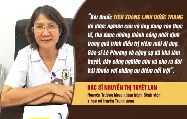 Đánh giá của bác sĩ Tuyết Lan về bài thuốc Tiêu Xoang Linh Dược Thang