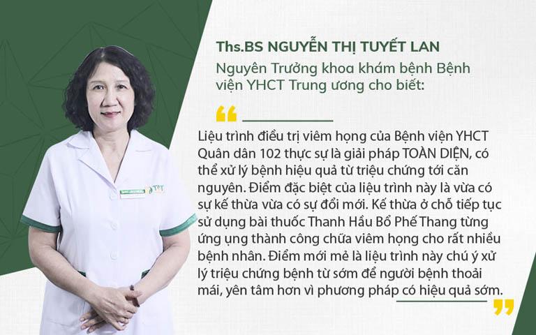 Bác sĩ Tuyết Lan nhận xét liệu trình điều trị viêm họng Bệnh viện Quân dân 102