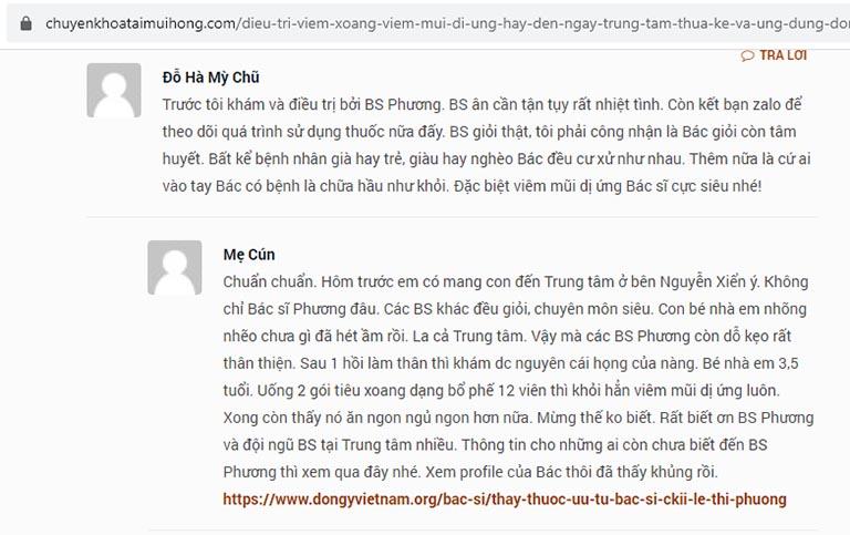Bệnh nhân nhận xét về bác sĩ Lê Phương