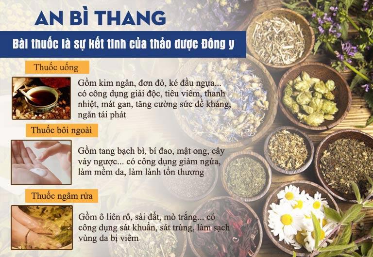 An Bì Thang là sự kết hợp của 3 chế phẩm mang đến hiệu quả điều trị từ gốc