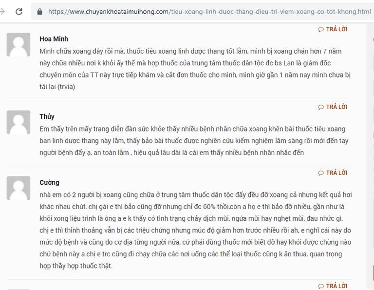Một số phản hồi của bệnh nhân về Tiêu Xoang Linh Dược Thang