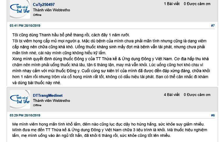 Những phản hồi của người dùng về bài thuốc Thanh Hầu Bổ Phế thang trị viêm họng trên webtretho