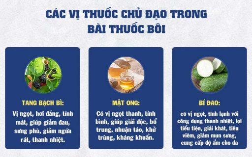 Những vị thuốc được sử dụng trong bài thuốc bôi, rửa, có tính kháng viêm, đồng thời chứa nhiều khoáng chất