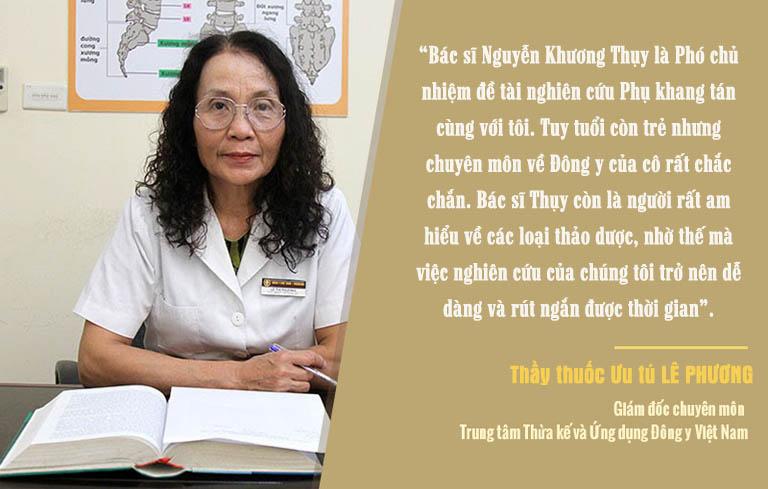 Thầy thuốc Ưu tú Lê Phương đánh giá cao về bác sĩ Nguyễn Khương Thụy