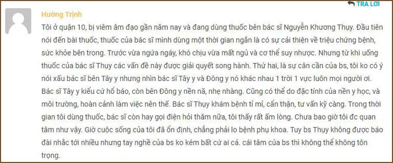 Phản hồi của người bệnh về bác sĩ Nguyễn Khương Thụy
