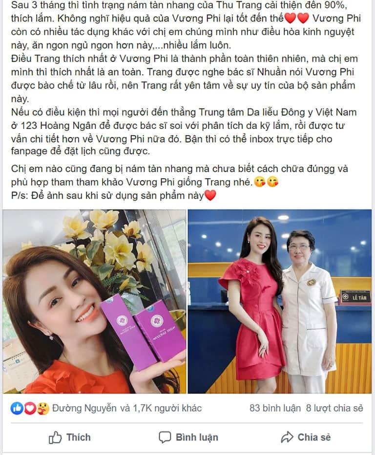Phản hồi của diễn viên Lương Thu Trang về Bộ sản phẩm Vương Phi