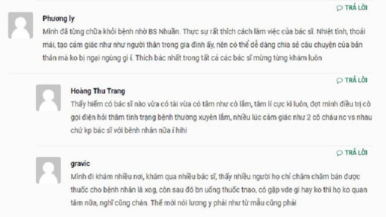 Người bệnh viêm da dầu đánh giá cao chuyên môn và thái độ làm việc của bác sĩ Nguyễn Thị Nhuần