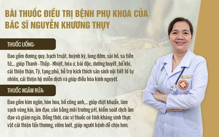 Bài thuốc chữa viêm phụ khoa của bác sĩ Khương Thụy điều trị theo cơ chế tác động kép trong uống - ngoài rửa