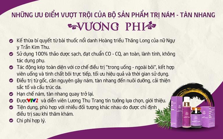 Những ưu điểm vượt trội của Bộ sản phẩm Nám Tàn nhang Vương Phi