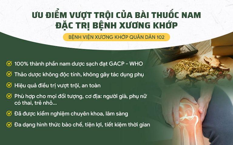 Giải pháp điều trị Xương khớp Quân Dân 102 kế thừa toàn bộ ưu điểm bài thuốc của Trung tâm Thừa kế & Ứng dụng Đông Y Việt Nam