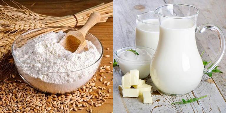 chữa dày sừng nang lông bằng cám gạo và sữa tươi