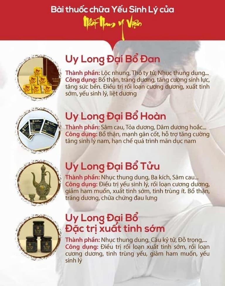 Công dụng của 4 bài thuốc trong bộ sản phẩm Uy Long Đại Bổ