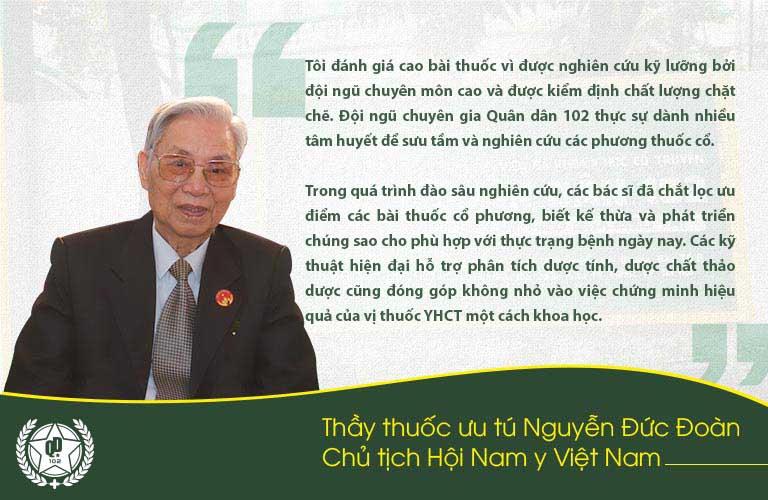Thầy thuốc Nguyễn Đức Đoàn đánh giá cao bài thuốc Tiêu xoang linh dược thang