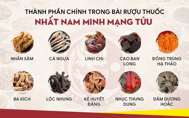 Một số dược liệu chính của bài thuốc ngâm rượu triều Nguyễn
